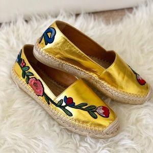 Gucci Pilar Floral Leather Espadrilles